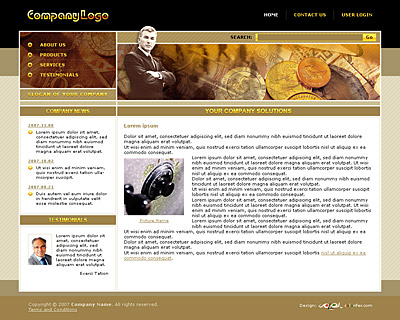 Quality black and gold website template / web page template with nice collage, sidebar on the left, horizontal navigation on the top, textured background. Categories: Business, Education, Law, Politics, Clean style, Commerce. Designed by Colorifer.com