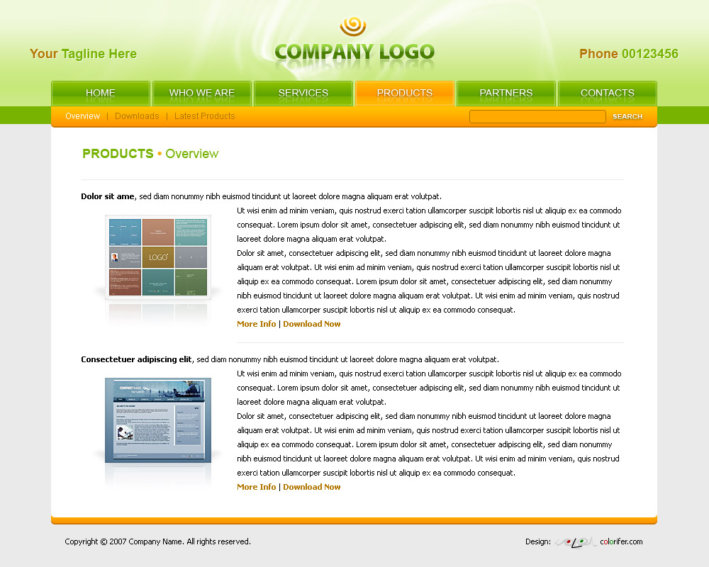 Free Adobe Photoshop website templates. Content Page Layout of ...