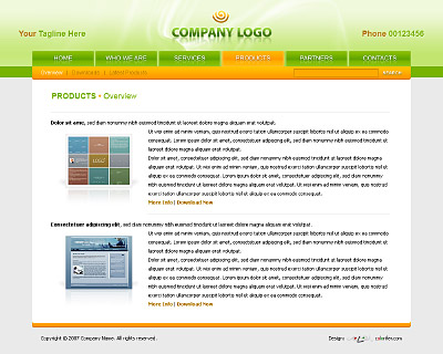 Content page layout of website template 009. Quality brown and green website template / web page template with tabs navigation bar on the top and submenu, search panel, nice products section, reflections and gradients. Categories: Business, Computers, Education, Law, Politics, Clean style, Commerce, Portfolio, Web 2.0, Art, Photography, ArtWorks, Neutral, Web design. Designed by Colorifer.com