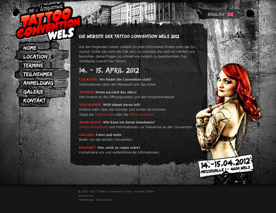 free adobe photoshop website templates by website tattoo convention wels 2012. Black Bedroom Furniture Sets. Home Design Ideas