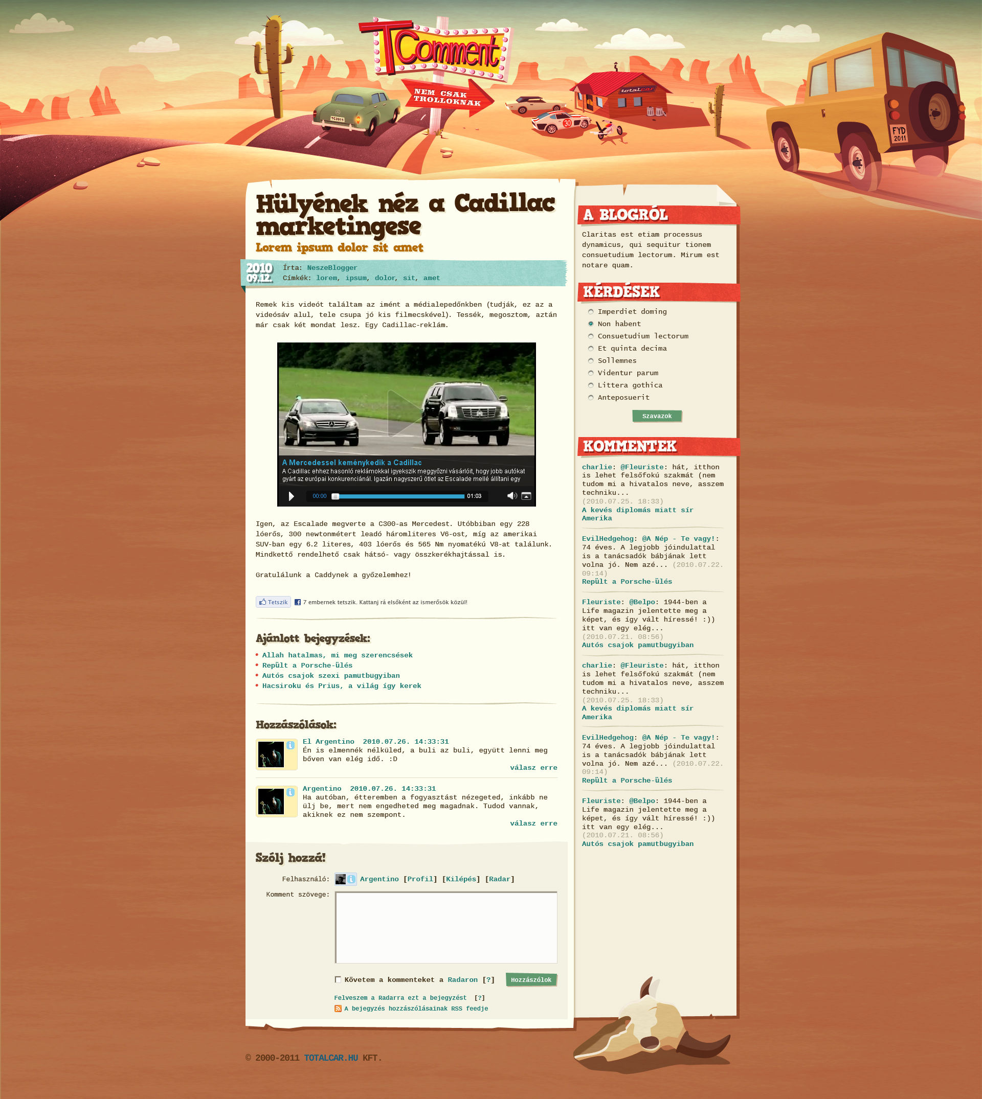 Home Page Layout Of Superior Website. Tcomment Car Blog Design By_floydworx